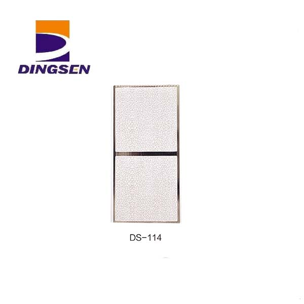 Reliable Supplier Waterproof Pvc Embossed Wall Panel - 30cm hot stamping pvc panels for decorative plastic tiles design DS-114 – Dingsen
